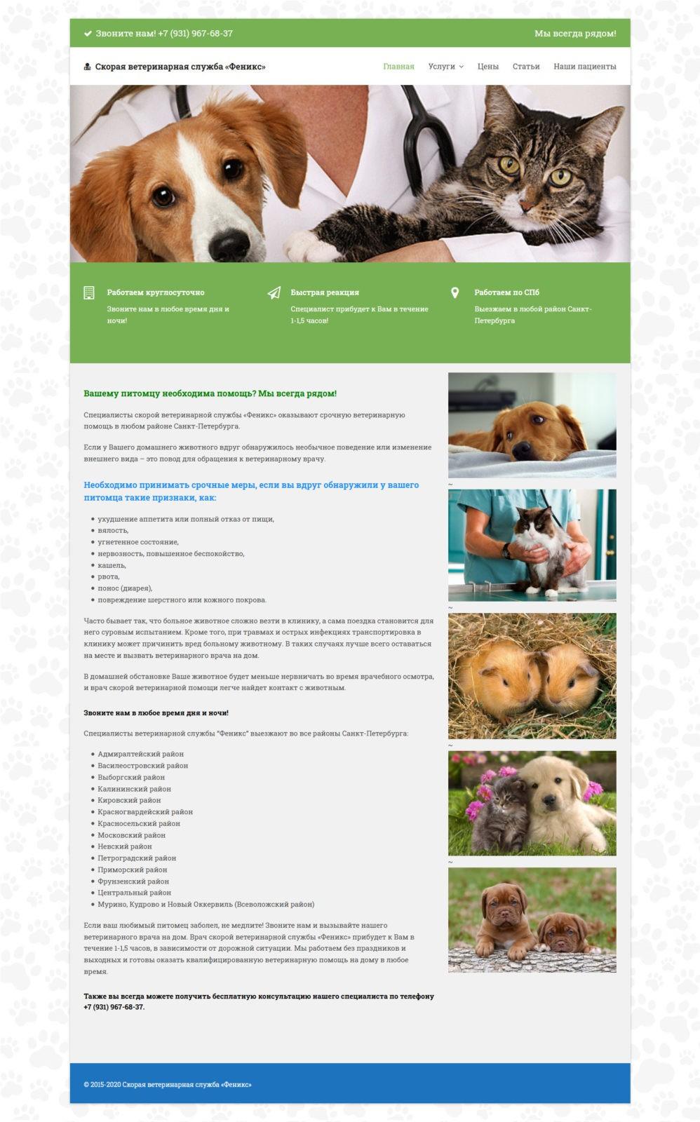 создание сайта ветеринара
